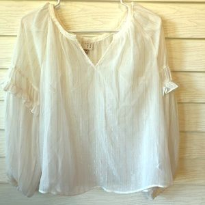 White and gold Peasant Top